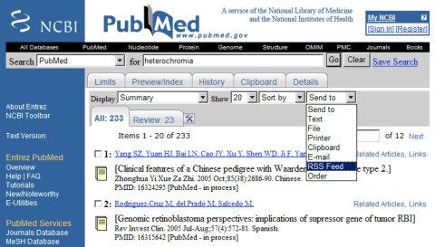 Servicio de alerta de PubMed por medio de RSS