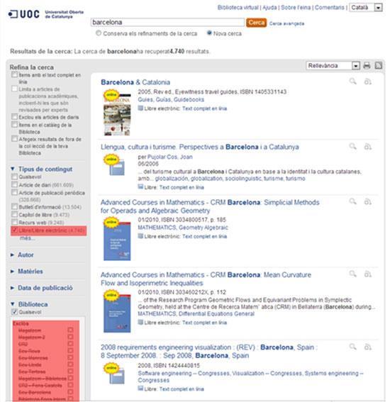 Figura 12. Cerca de  llibres electrònics a Summon