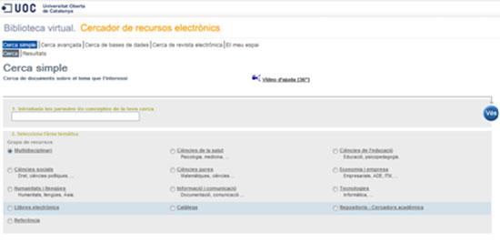 Figura 4. Cercador de  recursos electrònics i cercador de llibres electrònics
