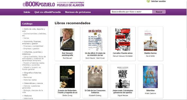 Figura 1. Pàgina inicial de la plataforma de préstec de llibres electrònics de Pozuelo  d'Alarcón, eBookPozuelo