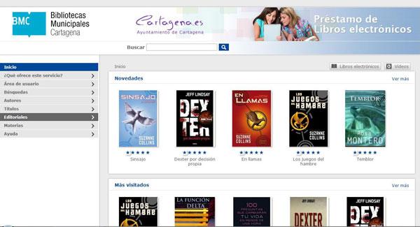 Figura 2. Pàgina inicial de la plataforma de préstec  de llibres electrònics de la Red de Bibliotecas Municipales de Cartagena
