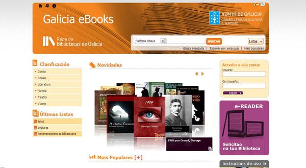 Figura 3. Pàgina inicial  de la plataforma de préstec de llibres electrònics de la xarxa de biblioteques  de Galícia: Galícia eBooks