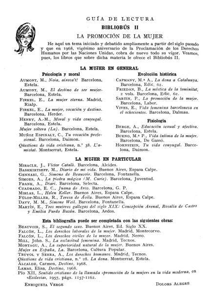 Guia de lectura del Bibliobús núm. 2 sobre la promoció de la dona (Anuario..., 1968, p. 132–133)