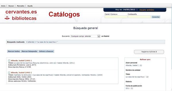 Catàleg de la biblioteca de l'Instituto Cervantes