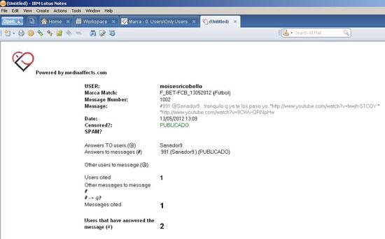 Figura 2. Vista Lotus Notes de la  fitxa de missatge