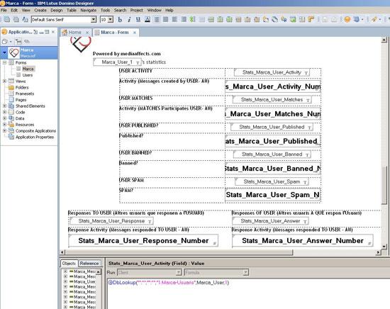 Figura 4. Disseny del formulari d'usuaris  en què es pot veure la programació en @Formules de Lotus Notes