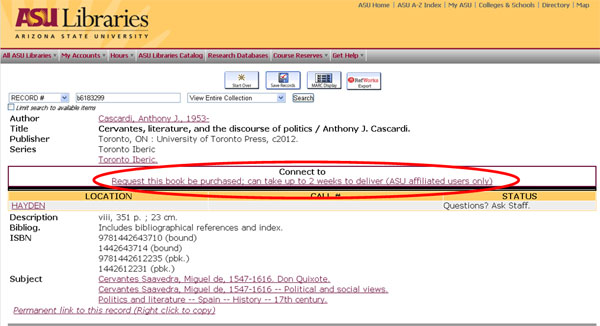 Figure  1. Sample OPAC (online  catalog) record for print streamed book
