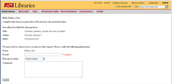 Figure  2. Screenshot of  patron-identifying information for PDA print title request