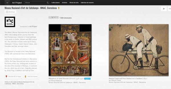 Gràfic 1. Captura de pantalla de la pàgina principal del MNAC a l'Art Project de Google