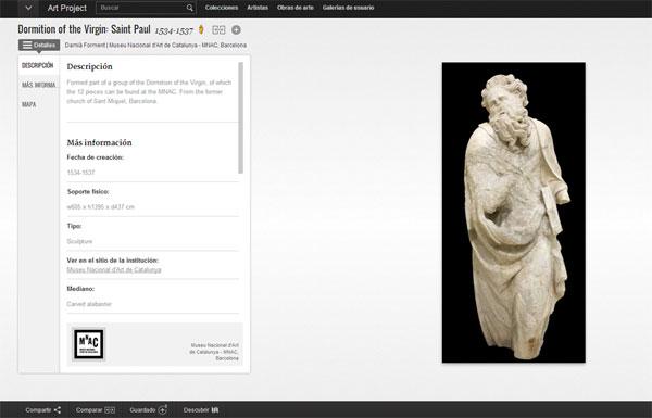 Gràfic 2. Captura de pantalla d'una fitxa descriptiva del MNAC