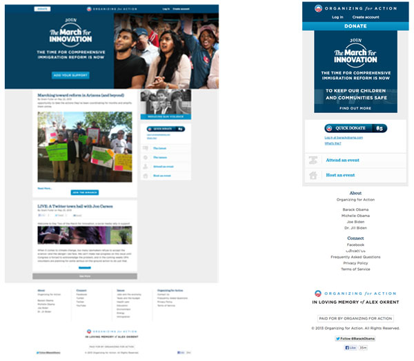 Figura 2. Esquerra:  pàgina web responsive del president  dels EUA, Barack Obama, vista des d'un MacBook Pro 13' (pantalla de 1280x800px). Dreta: pàgina web responsive del president dels EUA, Barack Obama, vista en un iPhone4 (pantalla de 960x640px).