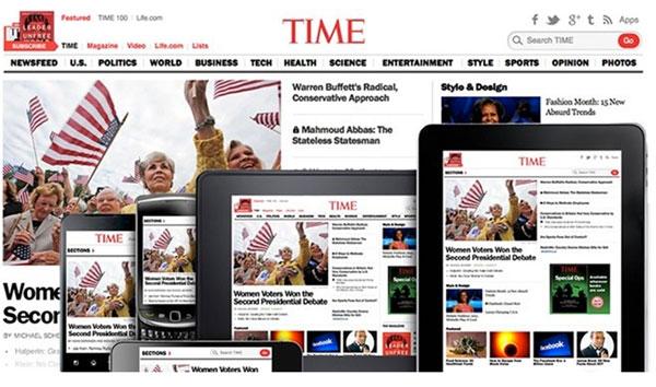 Figura 5. Imatge  de la revista <em>Time</em> vista des de diversos dispositius.