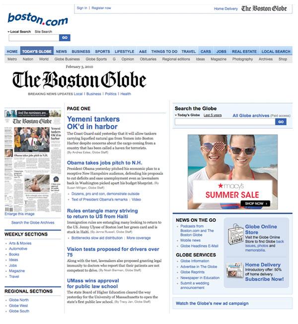 Figura 8: Aspecto de la web del Boston  Globe en febrero de 2010 (sin diseño responsive).