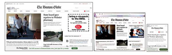 Figura 9.  Visualitzacions del The Boston Globe: versió de taula (esquerra), versió  iPad (centre) i versió iPhone (dreta). Imatges preses el 09/07/2013.
