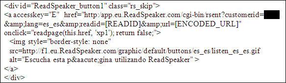 Inclusión del botón ReadSpeaker y llamada al servidor