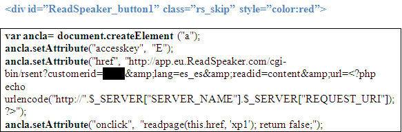 Creación del enlace al servidor Readspeaker