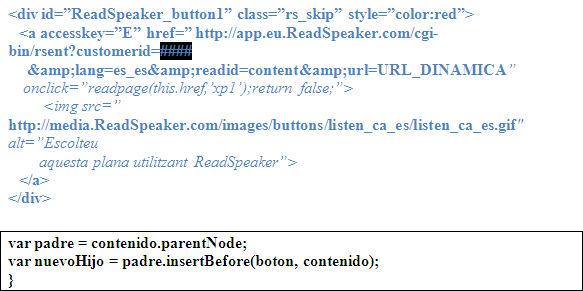 Inclusión del botón en el HTML de la página, justo encima del contenido