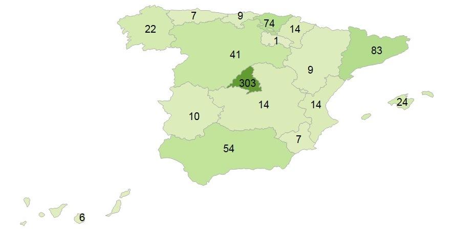 Distribució geogràfica de les ofertes. Freqüències