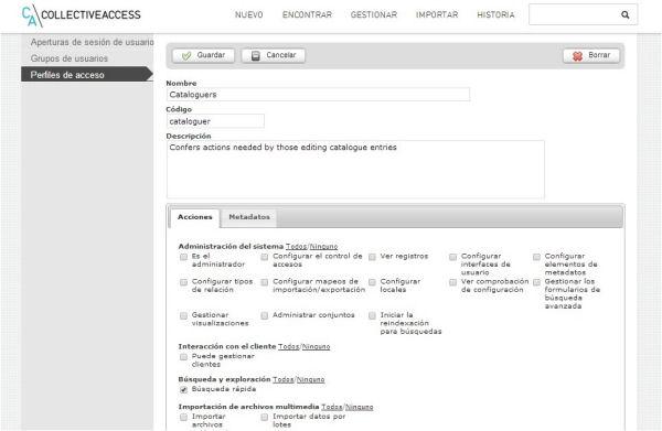 """Fragmento de las acciones asociadas al perfil de acceso del grupo de usuarios """"Cataloguers"""""""