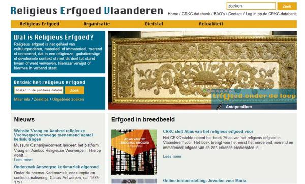 Pàgina d'inici del Religieus Erfgoed Online