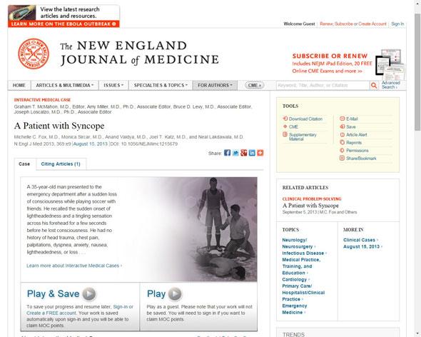 Imatge 1. Exemple de recurs multimèdia  interactiu al NEJM
