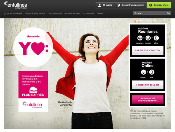 Imagen 3. Sitio web de Weight  Watchers International en castellano