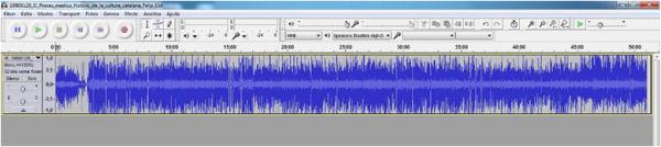 Interfaz de Audacity, el programa de captura y edición de audio