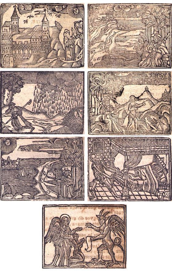 Figures 1–7. Peregrinació del venturós pelegrí. Barcelona: Rafel Figueró, sense data. Biblioteca de Catalunya, [VI-I-C 8/5].