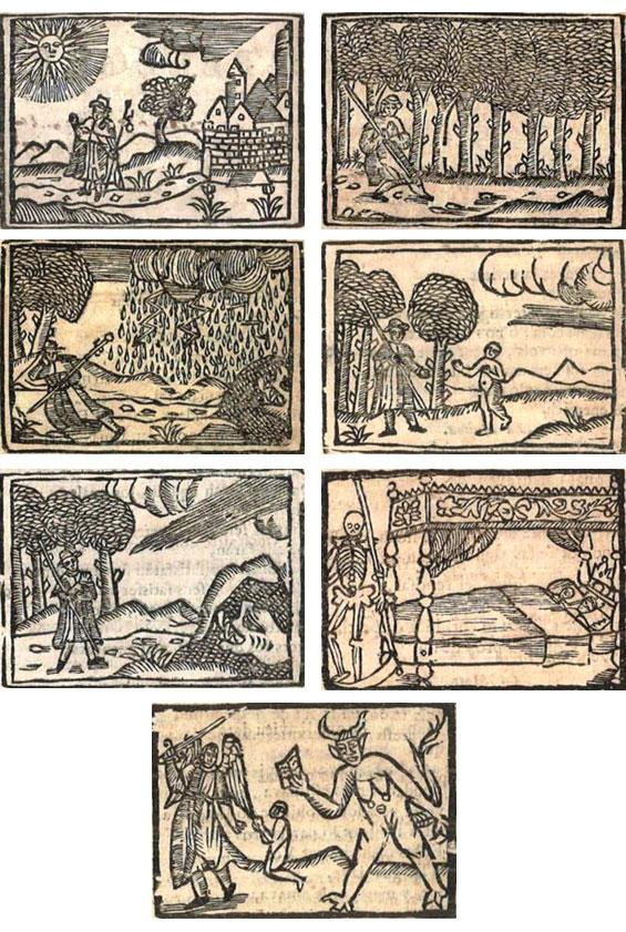 Figures 8–14. Peregrinació del venturós pelegrí. Barcelona: Pau Campins, 1723. Biblioteca Pública Episcopal de Barcelona, [849.9 Per; Reg. 10737].