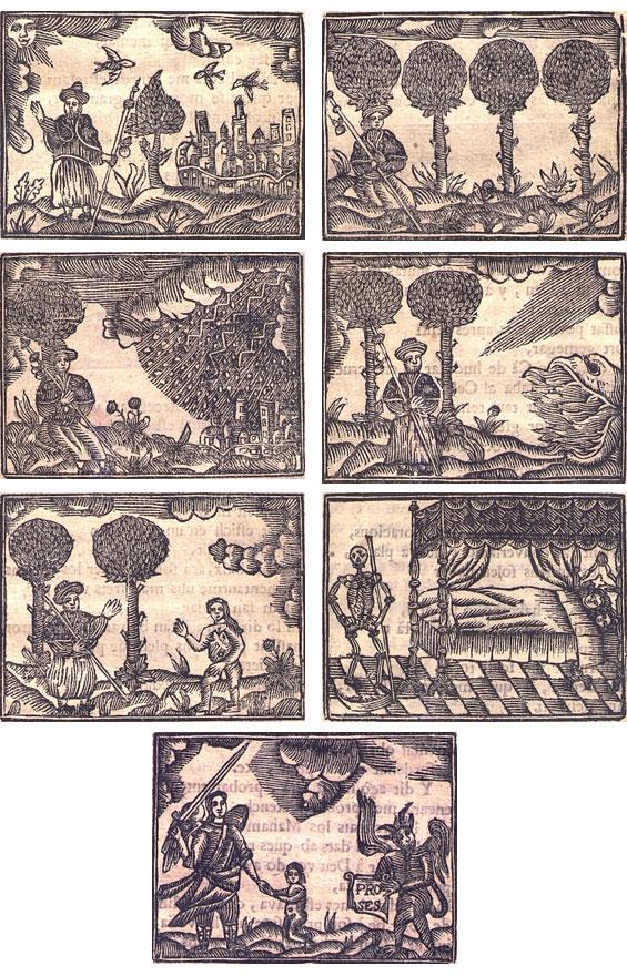 Figures 15–21. Peregrinació del venturós pelegrí. Barcelona: Joan Forns, sense data. Biblioteca de Catalunya, [VI-I C 8/6].