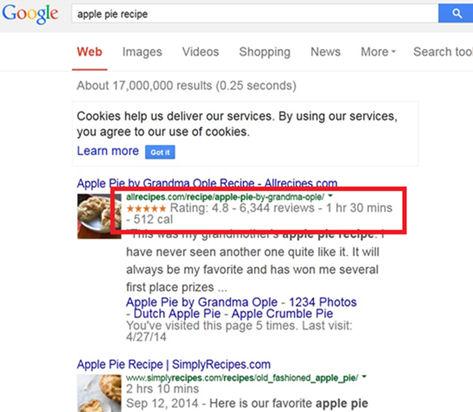 """Entrada con datos enriquecidos en los resultados de la búsqueda """"apple pie recipe"""" en Google"""