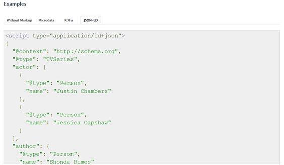 Ejemplo de codificación con el JSON-LD de la entidad TVSeries