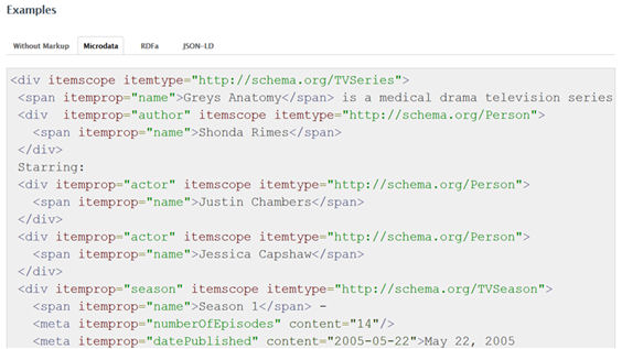 Ejemplo de codificación con Microdata de la entidad TVSeries