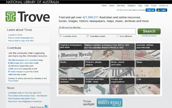 Pantalla principal del proyecto Australian Newspapers Digitalisation Program a Trove