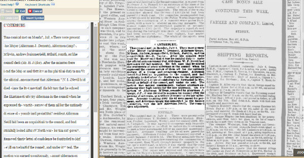 Interfaz de corrección de textos en Australian Newspapers Digitisation Program