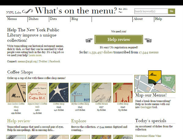 Pantalla de inicio de What's on the Menu? de la NYPL