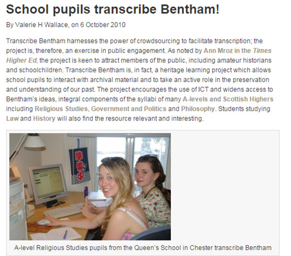 Page showing how students participating in the project Transcribe Bentham
