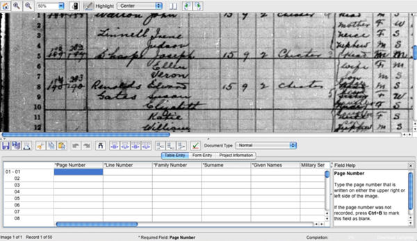 Exemple de transcripció des de zero al FamilySearch Indexing