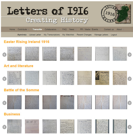 Shows the collections in Letters of 1916