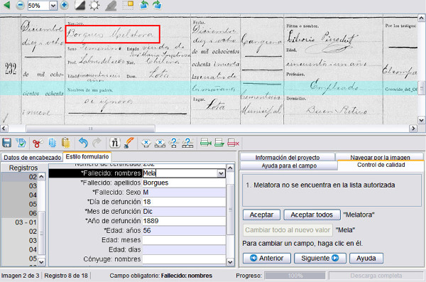 Mostra del control de qualitat al FamilySearch Indexing