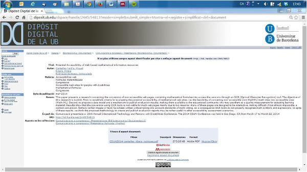 Exemple de registre de metadades d'una publicació, pertanyent al Dipòsit Digital de la UB (2008-)