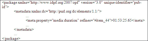 Indicació de la duració del media-overlay declarat prèviament