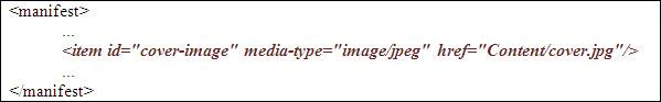 Declaració de la imatge de la coberta dins l'element <manifest>