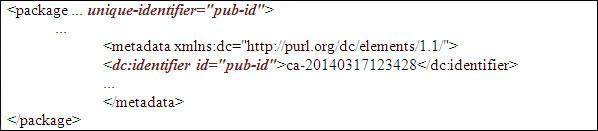 Repetició del valor de l'identificador a <package> i a <metadata>
