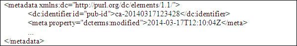 Element <dc:title> amb els seus tres atributs: id, xml:lang i dir