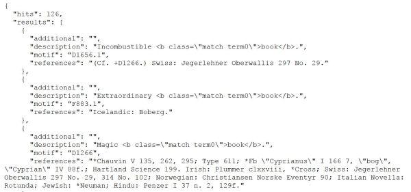 Fragment del contingut del fitxer d'exportació generat en fer la cerca book