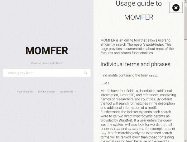 Interfície de cerca del MOMFER amb la guia d'usuari desplegada