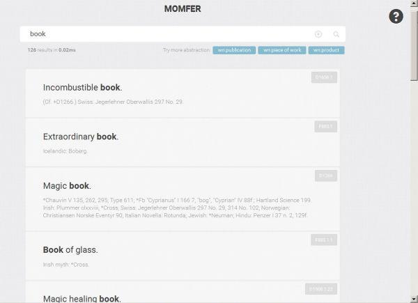 Interfície de resposta del MOMFER amb els primers resultats de la cerca book.<br />S'aprecia l'aparició de la icona per generar el fitxer d'exportació a la dreta de la quadre de cerca.