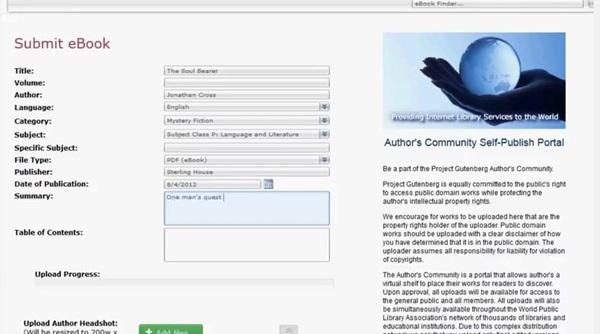 Figura 3. Camps del formulari d'incorporació de metadades en el Project Gutenberg