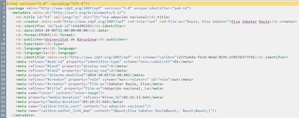 """Figura 5. Secció <metadata> en el document """"Package"""" generat pel Calibre, amb les alteracions aplicades pel connector """"Read EPUB metadata"""""""